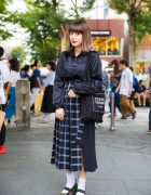 Harajuku Girl in Merry Jenny Satin Top, G.V.G.V. Skirt, Marc Jacobs Colorblock Heels, Vivienne Westwood & Opening Ceremony