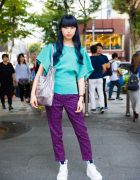 Blue-Haired Harajuku Girl in Plaid Pants, Tokyo Bopper Platforms, Opening Ceremony & Vivienne Westwood
