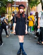 Harajuku Girl in Bubbles Tokyo Black Lace Dress, Platform Sandals & Beret