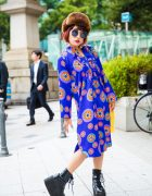 J-Pop Singer Mikuro Mika in Harajuku w/ Colorful Vintage Dress, Platform Boots & Kate Spade Tassel Bag