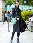 Japanese Model in All Black Street Fashion w/ Yohji Yamamoto, iolom & 3.1 Phillip Lim
