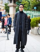 All Black Japanese Street Style w/ Maxi Coat, Round Sunglasses & New Balance Sneakers