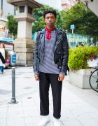 Musician Blessed Samuel in Harajuku Streetwear w/ Leather Jacket, Striped Shirt & Sneakers