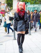 Twin-Tailed Harajuku Artist in Cropped Floral Sleeve Bomber Jacket, Yohji Yamamoto, Yosuke & Vivienne Westwood