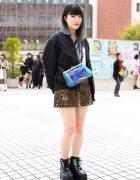 Tokyo Street Style w/ Bubbles Leopard Print Skirt, Anna Sui Transparent Bag & Yosuke Boots