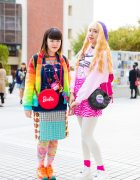 Bunka Fashion College Girls in Colorful Mixed Prints & Pink Fashion w/ Peco Club, Angel Blue, 6%DokiDoki, Nakano Ropeway, Decotrand, Dream Date & Yosuke