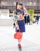 Japanese Model/Actress A-Pon in Vintage Mixed Prints Street Style & Chanel Earrings