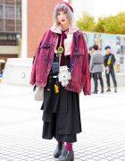 Red Acid Wash Denim Jacket , Yohji Yamamoto Bag, Retro Robot & Bunka Fashion College Accessories