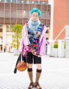 Aqua-Haired Tokyo Guy in Streetwear Style w/ Rauco House, Damage, Jeremy Scott, Gucci & Galaxxxy