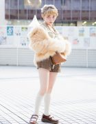 Japanese Street Style w/ Faux Fur Coat, Lingerie Top, Vintage Plaid Shorts & Dr. Martens Mary Janes