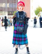 Plaid Pleated Midi Skirt, Fishnet Top, Black Lace, Beret & Dr. Martens Boots in Tokyo