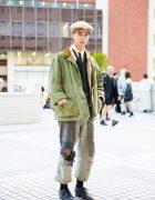 Vintage Tokyo Street Style w/ 1920s L.L.Bean Coat, 1960s Lee & 1980s Vivienne Westwood