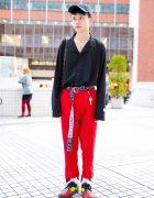Black & Red Tokyo Street Fashion w/ Ding, Louis Vuitton, Tiffany&Co., Dr. Martens, Guess & Polo Ralph Lauren