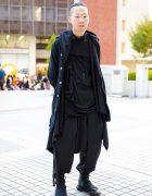 Dark Minimalist Japanese Street Style w/ Comme Des Garcons Homme Plus, Y-3 & Handmade Items