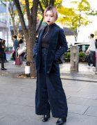 Dark Harajuku Street Fashion & Bob Hairstyle w/ Velvet Blazer & Ribbed Turtleneck Top