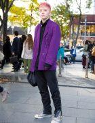 Pink-Haired Harajuku Guy in Purple Blazer, Diesel Pants & Metallic High Top Sneakers