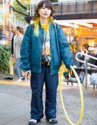 Japanese Artist w/ Yellow Hair in Harajuku Wearing Bomber Jacket, Landlord New York, Adidas x Hyke & Nike