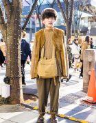 Monochromatic Street Fashion w/ Barbour Fur Vest, Resale Items & Dr. Martens Lace-Up Shoes