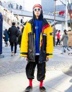 Colorful Winter Street Style w/ Resale Perry Ellis, Puma & Vans