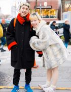 Happy Harajuku Duo in Winter Street Styles w/ Faux Fur Coat, The Virgin Mary Sweater & Tabi Sneakers
