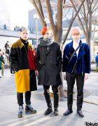 Harajuku Guys' Colorful Hairstyles & Winter Street Fashion w/ Gucci, Zara & Dr. Martens