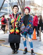 Colorful Harajuku Duo in Vintage Knit Sweaters Street Styles