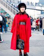 Vibrant Red & Black Japanese Winter Fashion w/ Otoe, Comme Des Garcons & Tokyo Bopper Shoes