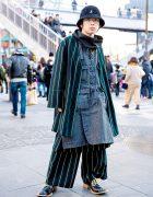 Japanese Streetwear Style w/ Kidill Coat, Kangol Bucket Hat & Vintage Shoes