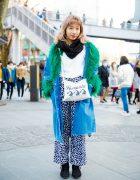 Japanese Street Fashion w/ Denim Faux Fur Coat, Dalmatian Pants & Masami Yanagida x No Panties Bag