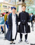 Japanese Hair Stylists in Layered Monochrome Street Styles w/ The North Face Sling Bag, Converse Sneakers & Printed Head Scarf