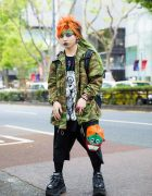 Japanese Subculture Accessories Designer in Harajuku w/ Orange Hair, Camouflage, M:E Graphic Shirt & Demonia