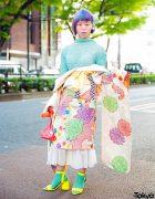 Pastel Japanese Street Style w/ Floral Kimono, Unicorn Hair, Popcorn Top & Yellow Sandals
