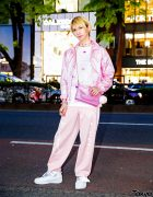 Japanese Artist Bisuko Ezaki Wearing All Pink on The Street in Harajuku