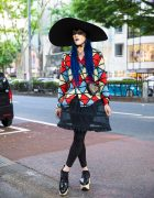 Avant-Garde Harajuku Street Styling w/ Extra Wide Brim Hat, Vivienne Westwood, Chanel & Dr. Martens