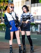 Harajuku Girls Streetwear Styles w/ Moussy Parka, Spinns Plaid Skirt, Faith Tokyo Camisole, Bubbles Boots & Moschino Backpack
