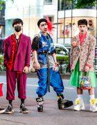 Harajuku Mens Streetwear Styles w/ Handmade & Vintage Fashion, Fuchsia Suit, Feather Headpiece & Floral Blazer