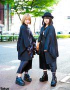 Harajuku Girls in All Black Street Styles w/ Sex Pot Revenge, Drug Honey, Yosuke Platform Shoes