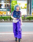 Blue Hair & Purple Pants Harajuku Street Style w/ (Me), WEGO, Takeshita Dori & Faith Tokyo