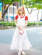 Harajuku Summer Style w/ Pink House Floral Top, Strawberry Necklace, Lace Dress, Baby Doll Shoes & Polka Dot Bag