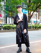 Yohji x Evangelion Printed Cardigan & Black Leather Boots in Harajuku