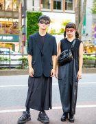 All Black Vintage Street Fashion w/ Comme des Garcons, Ashinaga Ojisan & New Rock