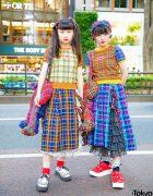 Harajuku Girls in Matching Plaid Street Styles by Japanese Fashion Brand HEIHEI