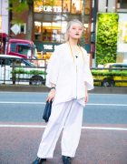 Harajuku Street Style w/ Gallerie Tokyo, Wide Leg Pants, Faith Tokyo Square Toe Boots & Kinji Clutch