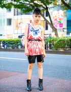 Eclectic Tokyo Street Style w/ Mohawk, Tie Dye Tank Top, Heck Patent Leather Shorts, Forever21 Studded Boots & Remake Backpack