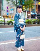 Harajuku Girl in Vintage Yukata Kimono w/ Japanese Wooden Sandals & Vintage Handbag