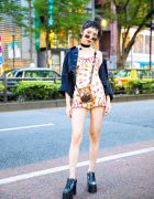 Harajuku Girl in Fruit Print Romper, Denim Jacket & Black Platform Boots