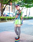 Japanese Nailist in Harajuku w/ Mixed Prints & Rainbow Platforms, Dolls Kill & Club Exx
