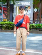 Burberry Red Shirt, WEGO Tan Pants, Anello Bag & Gucci Brown Leather Loafers in Harajuku