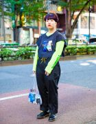 Beauty School Student's Harajuku Street Style w/ Nautica Sports, Neon Green Sweatshirt, Dickies, Dr. Martens & SHINee Bag
