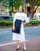 Chic Monochrome Japanese Street Style w/ Oct.3 Top, Tender Person Skirt & Patent Pumps